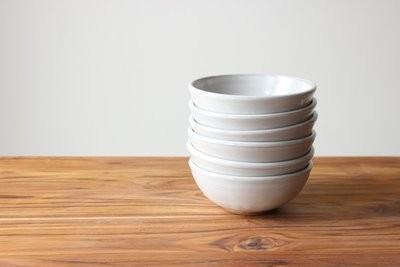 Stoneware White Ice Cream Bowls