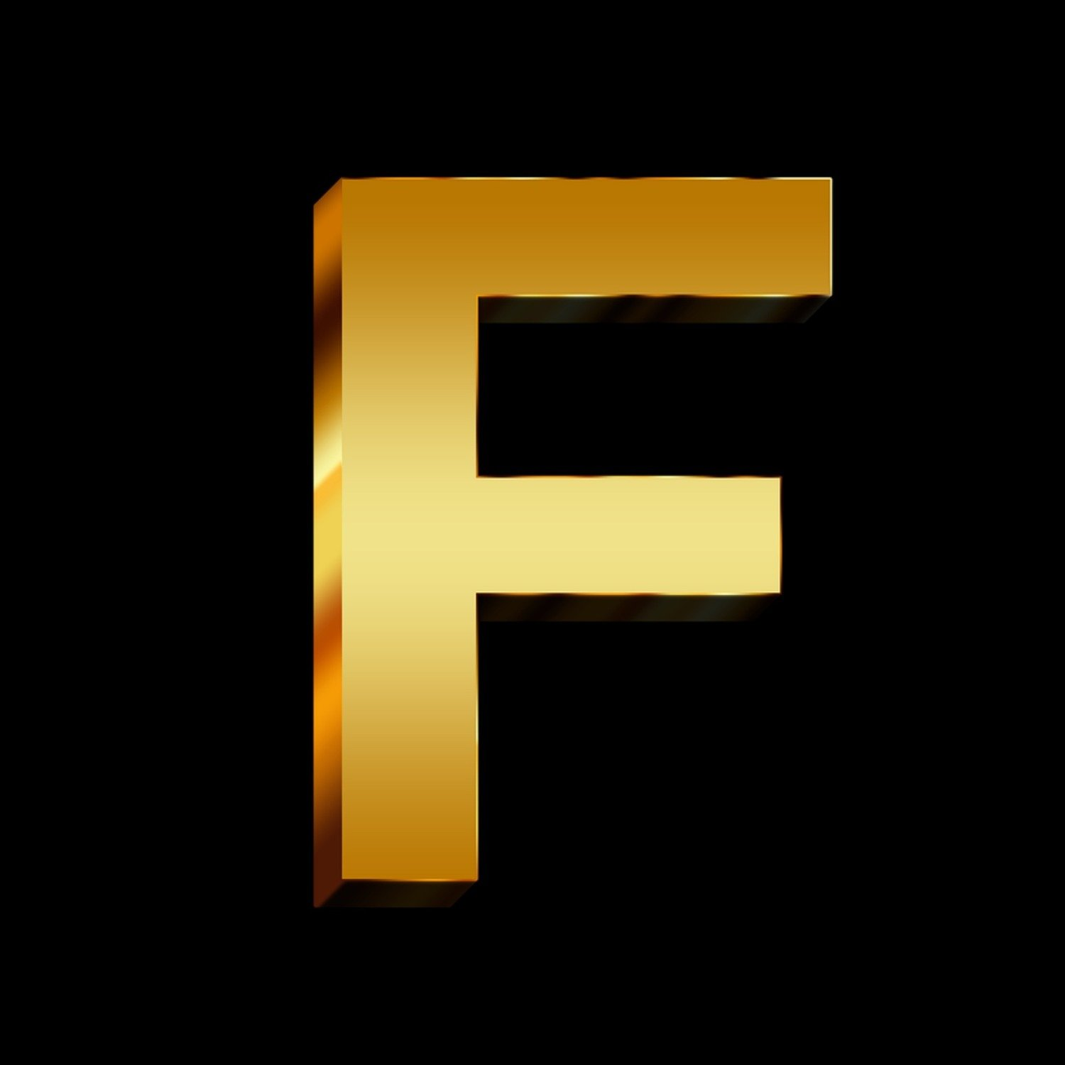 Gold Letter F Touch Of Glass