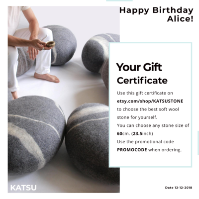Gift certificate from KATSU. Give your favorite stonepillow of a certain size, and they can choose the model they like.