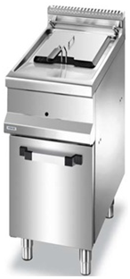 Electric fryer on cabinet