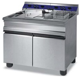 Electric fryer on under cabinet.