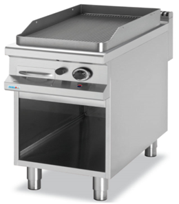 Gas grill on cabinet.