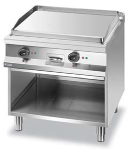 Electric grill on cabinet.