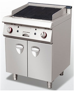 Gas lava stone grill on cabinet.