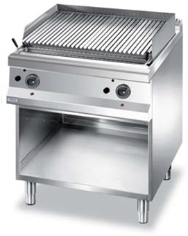 Gas lava stone grill on cabinet