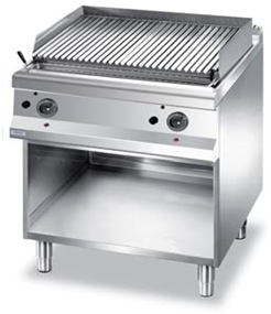 Gas lava stone grill on open cabinet.