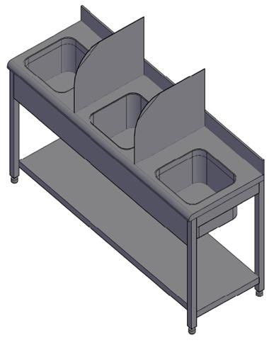 Triple bowl sink unit.