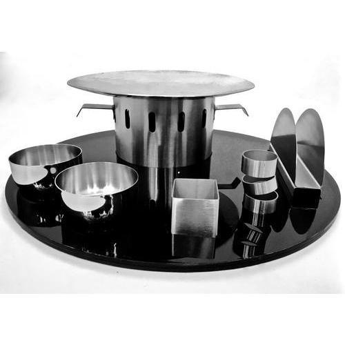 STAINLESS STEEL ROUND SNACK WARMER SET 16 inches