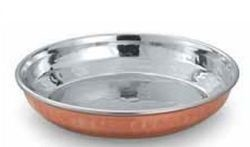 COPPER STAINLESS STEEL HALWA PLATE Height 2.75 cm Dia 12.50 cm