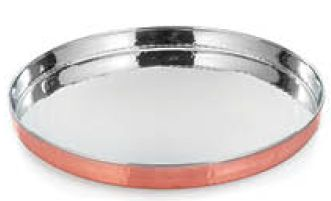 COPPER STAINLESS STEEL THALI  32.50 cm