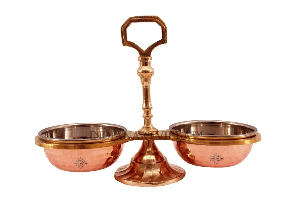 COPPER STAINLESS STEEL BRASS PICKLE SET 2 COMPT