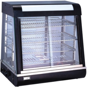 Food display warmer with steam