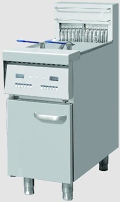 Electric fryer on cabinet.