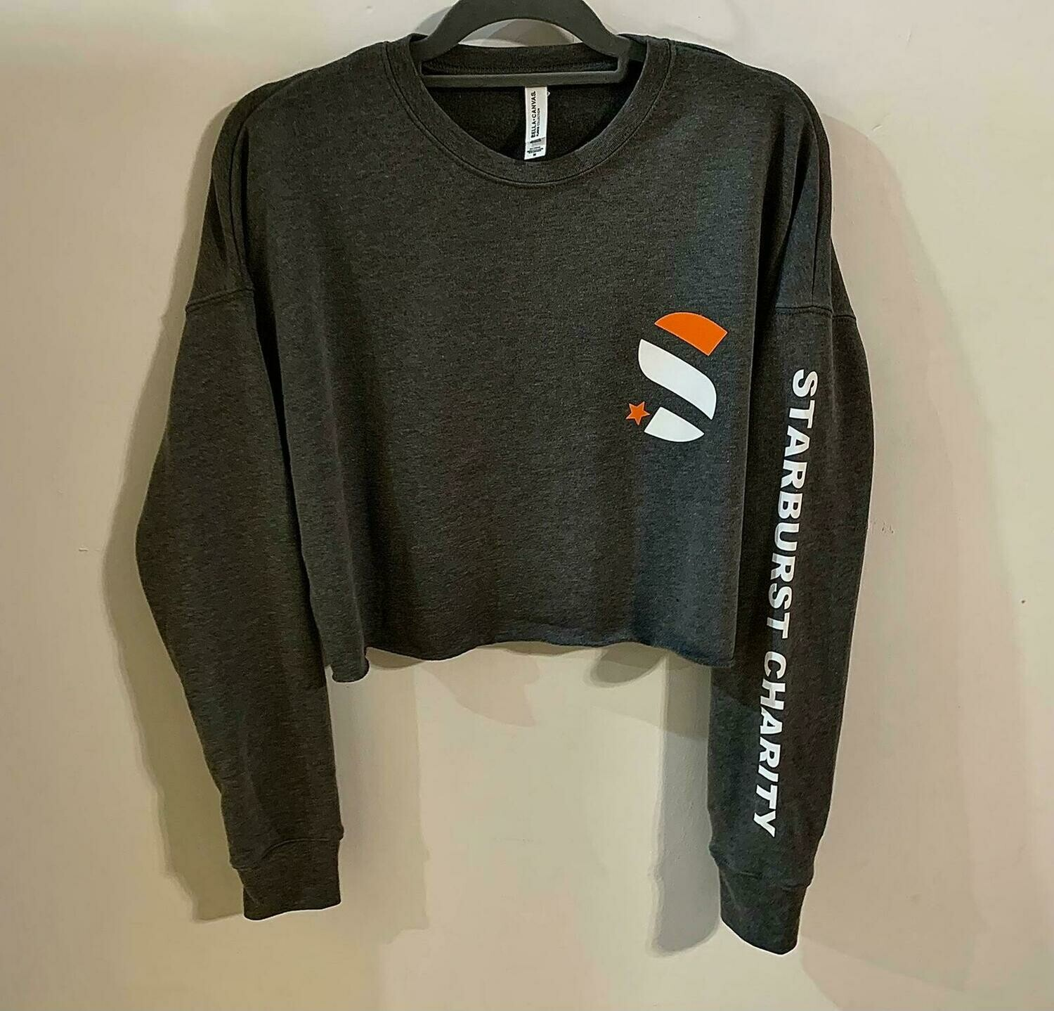 Starburst Cropped Fleece Hoodie with Logo