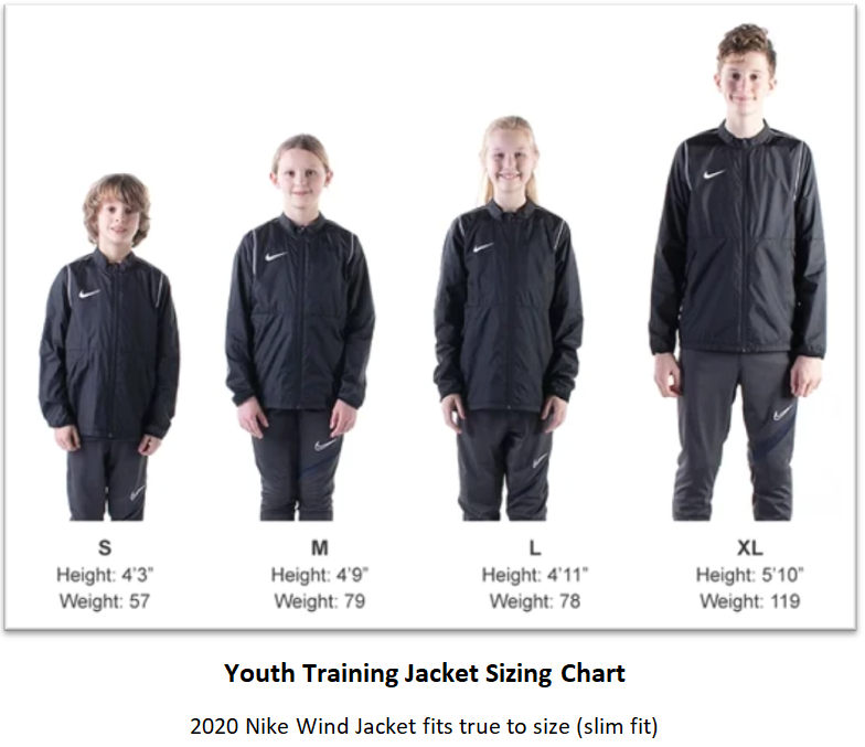 Helpful Sizing Information: Training Jacket (YOUTH, MENS AND WOMENS)