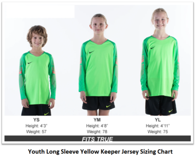 Helpful Sizing Information: Yellow Long Sleeve Keeper Jersey (YOUTH AND MENS)
