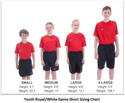 Helpful Sizing Information: Royal and White Game Shorts (YOUTH, MENS AND WOMENS)