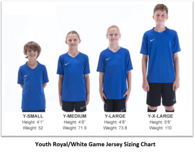 Helpful Sizing Information: Royal and White Game Jerseys (YOUTH, MENS AND WOMENS)