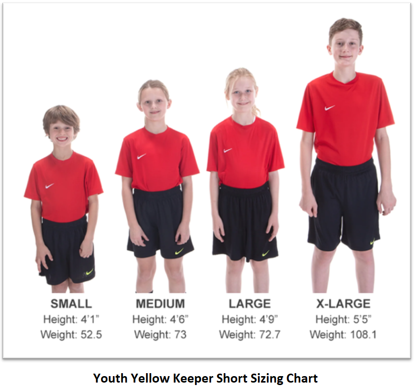 Helpful Sizing Information: Yellow Keeper Shorts (YOUTH AND MENS)