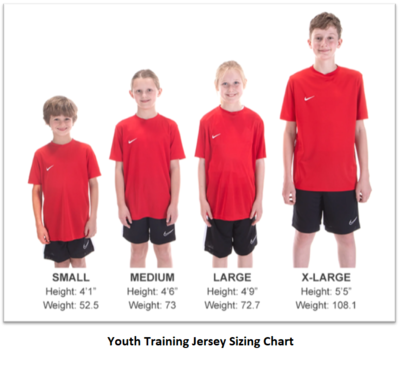 Helpful Sizing Information: Training Jersey (YOUTH, MENS AND WOMENS)
