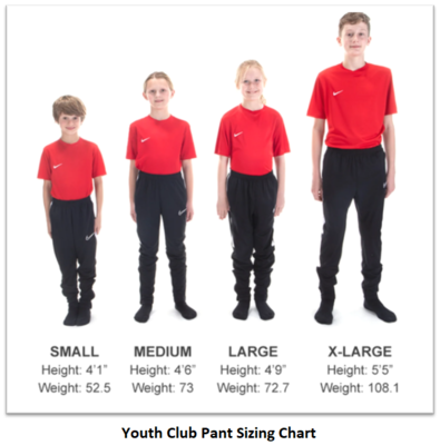 Helpful Sizing Information: Club Pant (YOUTH, MENS AND WOMENS)