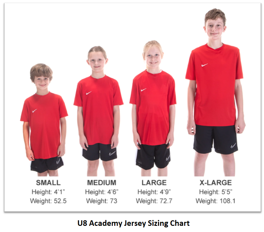 Helpful Sizing Information: Jersey (YOUTH)
