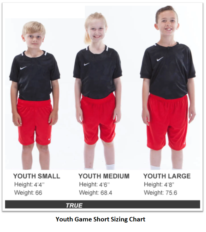 Helpful Sizing Information: Game Shorts (YOUTH, MENS AND WOMENS)