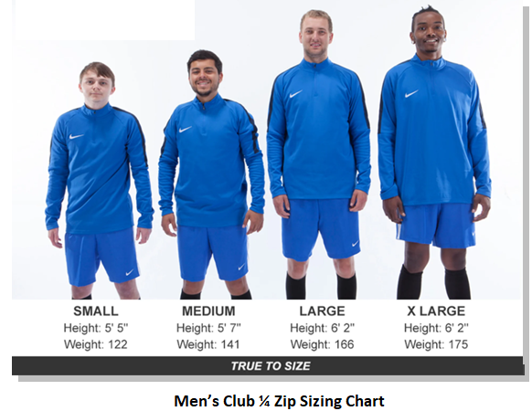 Helpful Sizing Information: Club Quarter Zip (YOUTH, MENS AND WOMENS)