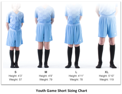 Helpful Sizing Information: Game and Training Shorts (YOUTH, MENS AND WOMENS)