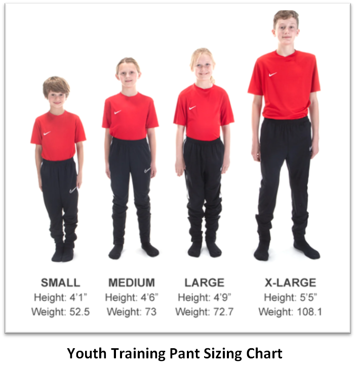 Helpful Sizing Information: Pants (YOUTH, MENS AND WOMENS)