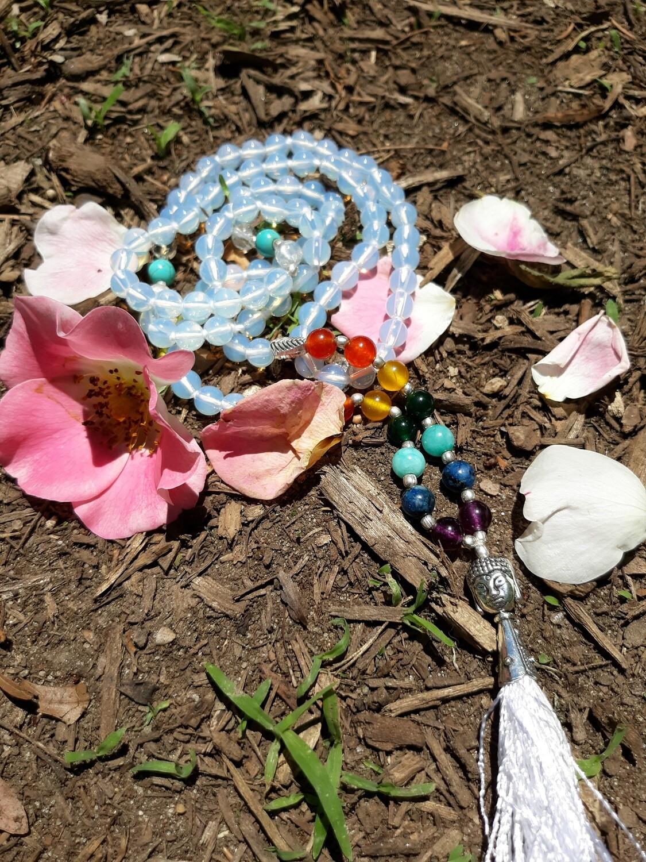 Clear Quartz 108 Mala Bead Necklace- small beads