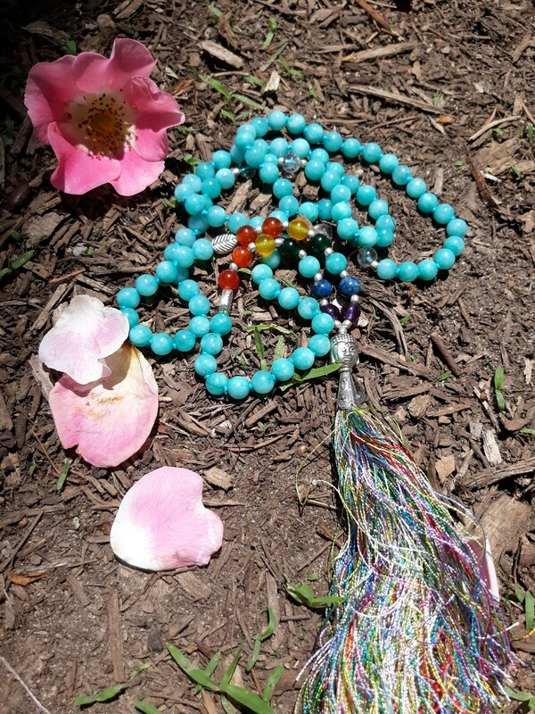 108 bead Blue Quartz Mala Necklace with 7 Chakra Stones (small stones)