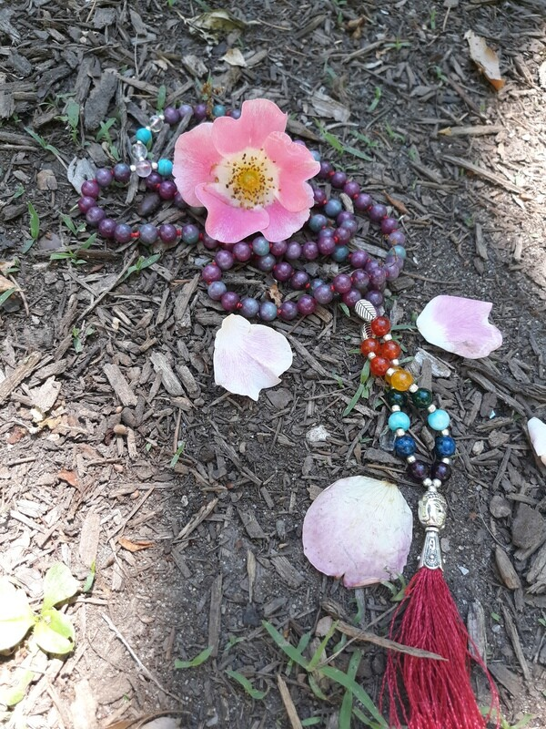 Purple Tourmaline - 7 chakra 108 Stone Mala Necklace - small beads