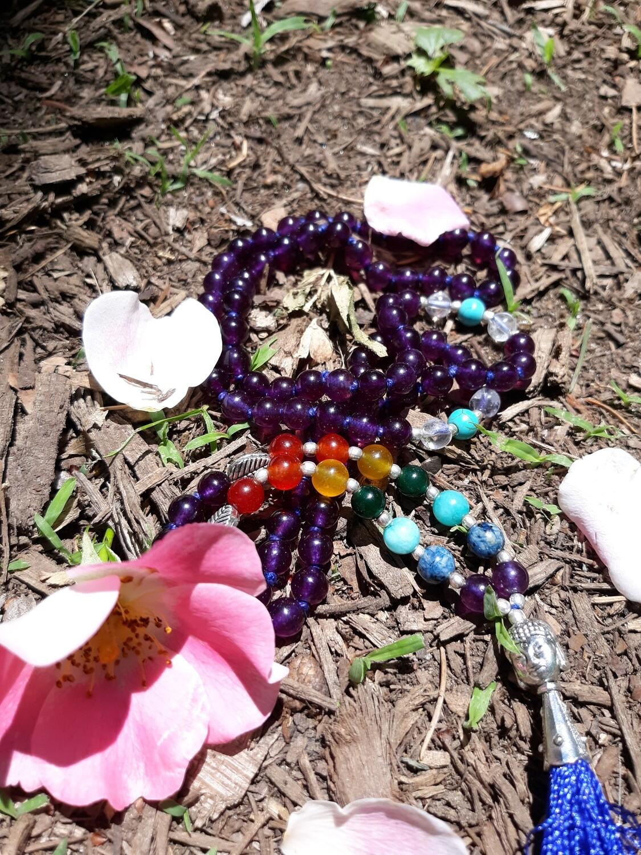 Amethyst 7 Chakra - 108 bead Mala Necklace
