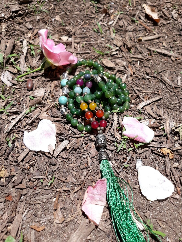 108 bead Jade Mala Necklace with 7 Chakra Stones (small stones)