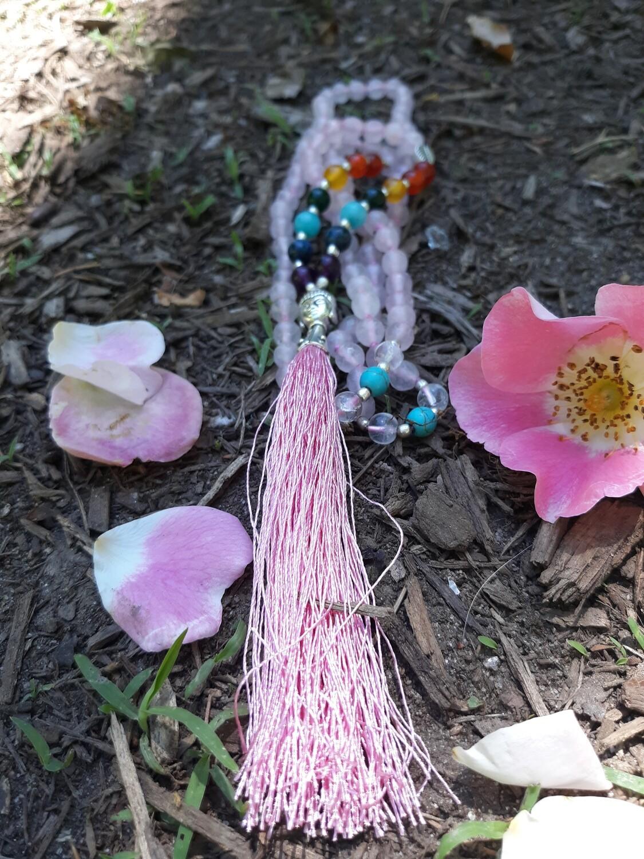 108 bead Rose Quartz Mala Necklace with 7 Chakra Stones (small stones)