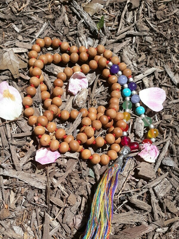 108 Bead Sandlewood and 7 Chakra Stone Mala Necklace (large stones)