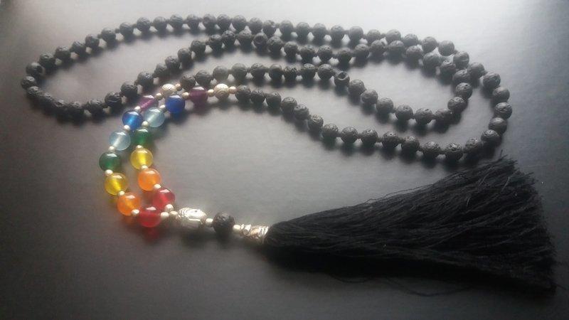 108 bead Lava Mala Necklace with 7 Chakra Stones