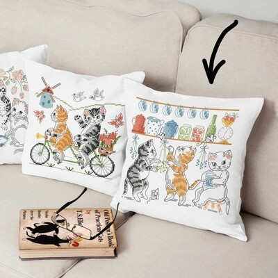 Duftin Cats Cross Stitch Cushion Cover