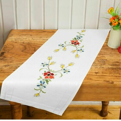 Duftin Floral Cross Stitch Table Runner
