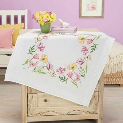 Duftin Floral Cross Stitch Table Cloth