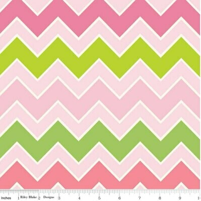Shaded Chevron - Pink & Green