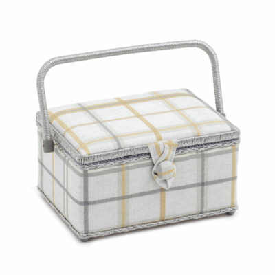 Medium Sewing Box: Derwent Check Maize