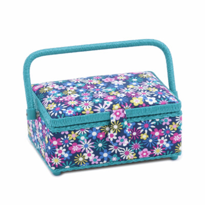 Small Sewing Box with Contents: Flowers-a-Plenty
