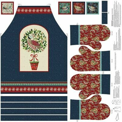 Partridge in a Pear Tree Apron and Mitts Panel
