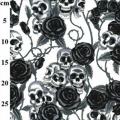 Poplin Skull Roses Ivory