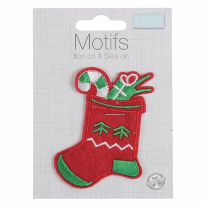 Christmas Stocking Iron on & Sew on Motif