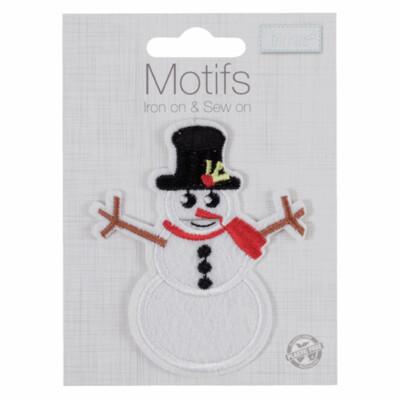 Snowman Iron on & Sew on Motif