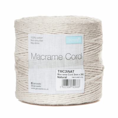 Macrame Cord 3mm: Natural