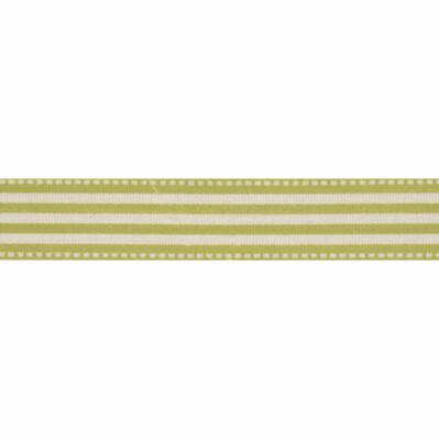 Natural Lime Green Stripe Ribbon